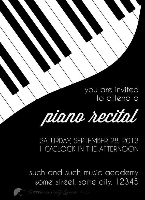 Recital de piano invitación personalizada