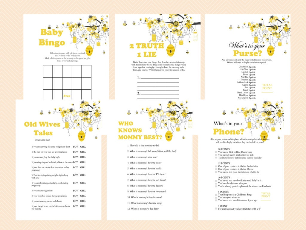 Bee Theme Baby Shower Games Printable Bumble