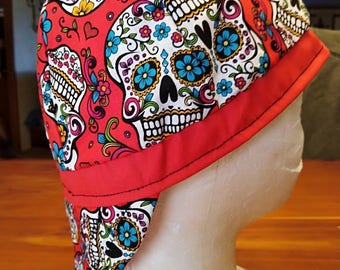 Reversible Red Sugar Skull Welding Cap Stretchable