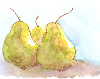 Watercolor painting, framed, Three Pears