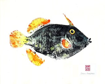 8 x 10 Hawaiian Fish Print in Black Mat Barred Filefish Gyotaku