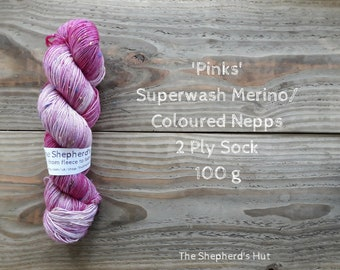 Superwash Merino/ Coloured Nepps 85/15   2 Ply Sock yarn 100 g 'Pinks'