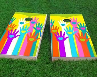 Gay Pride Hands with Hearts Themed 2x4 Custom Cornhole Board Set with bags | Custom Corn Hole | Bag Toss | Corn Toss | Bean Bag Toss