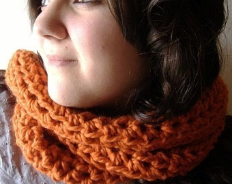 Infinity Wrap Cowl Chunky Neckwarmer Scarf in Urban Orange