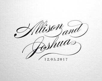 Wedding, Wedding Monogram, Wedding Logo, Calligraphy, Classic Wedding, Wedding Crest, Typography, Watermark Logo, Digital Wedding
