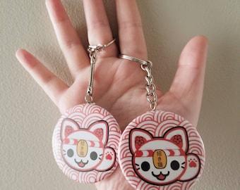 Nameki / Neko / Cat / welcoming / Good / Luck / Fortune  / Sakura / Matsuri / Spring / Festival / Red / Anime / Cute / Kawaii / keychain Pin