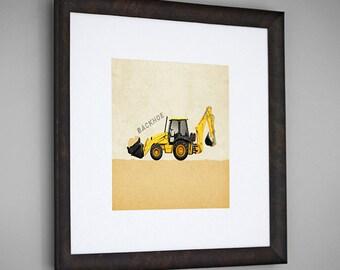 Construction Vehicle Yellow Backhoe Transportation Wall Art Room Decor Print for Nursey or Big Kid Boy or Girl