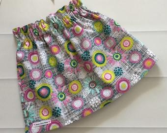 Girls Skirt, Skirt, Paperbag waist, paperbag skirt, high waist skirt, Size 6, Multicolour