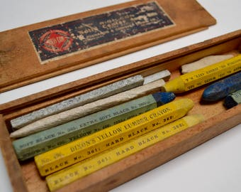 vintage wooden hardware box with Dixon lumber crayons