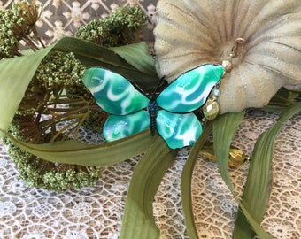 Pretty Enameled and Jeweled Vintage Butterfly Brooch