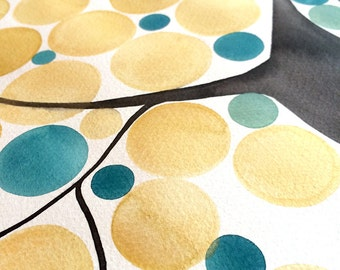 Gold paint Wedding Guest Book Tree watercolor painting - Custom Original Watercolor Painting - gold leaf tree