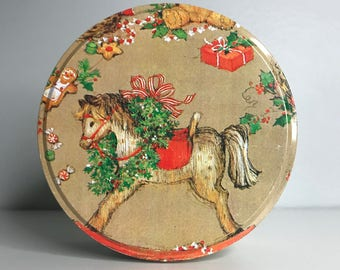 vintage Christmas tin with rocking horse