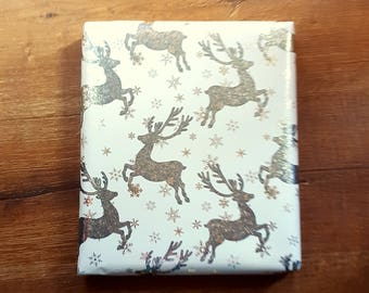 "Metallic Silver Deer Stag Buck on Bluish White Christmas Wrapping Paper, 10 ft x 30"" Roll, Masculine Gift Wrap, Woodland Christmas"