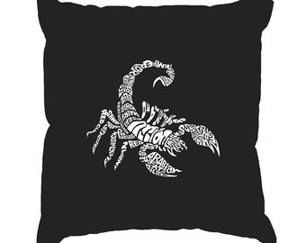 Throw Pillow Cover - Word Art - Created using Different Types of Scorpions