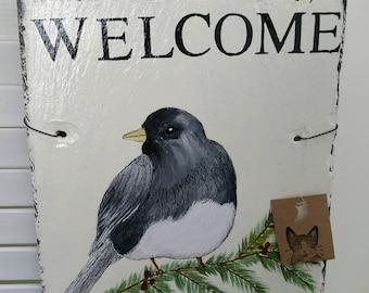 Handpainted bird welcome slate