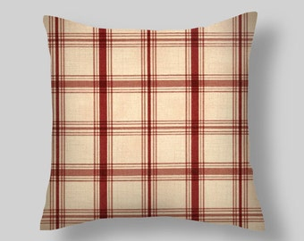 Red Throw Pillows  Pillow Covers Pantry Plaid Crimson Pillow Covers Decorative Pillows  Accent Pillows Throw Pillows Decorative Pillows Home
