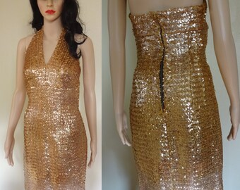 1950s gold sequin Marilyn Monroe halter dress wiggle 50s party dress