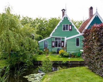 Zaanse Schans photo, fine art Netherlands photography, Falling Off Bicycles travel photo, green wall decor