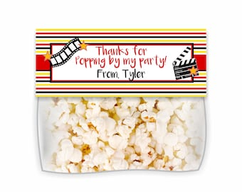 Thanks For Popping By, Movie Bag Topper, Popcorn Bag Topper, Movie Night, Bag Topper, Movie Treat Topper, Movie Treats, Movie Popcorn, Favor