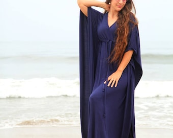Kaftan Maxi Dress in Navy Blue Jersey Knit - Women's Beach Caftan Dresses - Lots of Colors