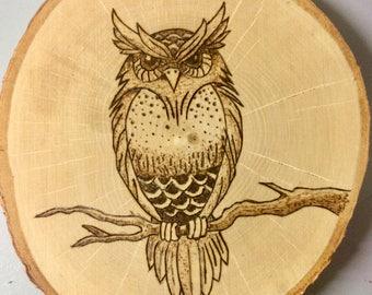 Wood Burned Perched Owl