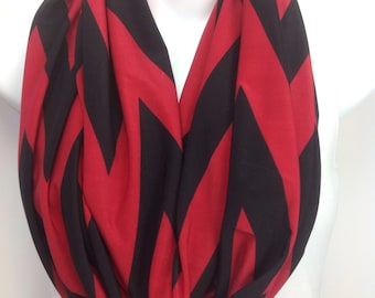 Red and black chevron infinity scarf