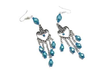 Earrings hippie chic blue, silver plated brass, Czech glass