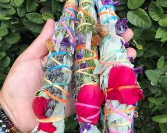 Crystal Power Smudge Sticks - Sage, Rose, Lavender and Rosemary - Charged with Clear Quartz, Amethyst and Citrine