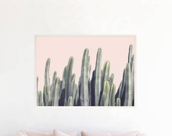 Cactus Print, Cactus Decor, Cactus Wall Art Organ Cactus Photography Southwestern Boho Decor Pink and Green Cactus Printable Download cp7pgl
