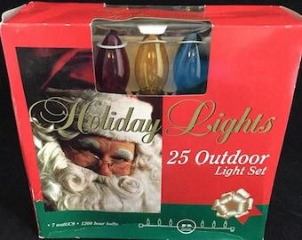 Spring New In Box Holiday Lights 25 Light Green Wire Transparent Multi-color 7 Watt C9 Christmas Light String Set