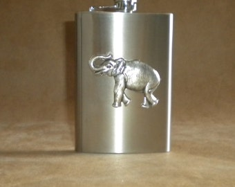 Silver Elephant Stainless Steel Birthday or Just Because Gift 8 ounce Flask