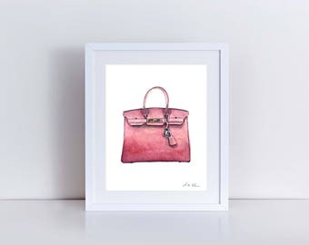 Hermes Birkin Bag Print Hermes Handbag Art Hermes Watercolor Fashion Illustration Fashion Art Print Vintage Hermes Preppy Art Print Canvas