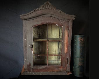 Antique Chippy Shabby Distressed by Time Curio Cabinet Cupboard Spooky Creepy Vintage Halloween