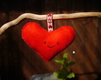 Lovable Handmade Red Felt Hanging Ornament. Sweet gift for your loved ones! Beautiful decoration for your home.