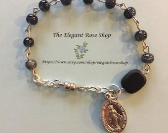 Handmade One Decade Rosary Bracelet in Black