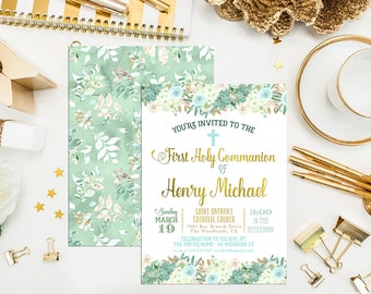 Leafy Greens First Communion Invitation. Neutral Baptism Invite. Custom First Holy Communion. Leafy Invite. Communion. Boy Communion Invite
