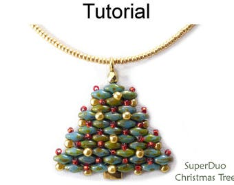 Super Duo Bead Patterns - Christmas Jewelry Making Tutorials -  Earrings Necklace - Simple Bead Patterns - SuperDuo Christmas Tree #20731