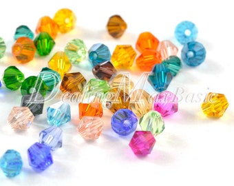 150Pcs 3x3mm Assorted Bicone Crystal Beads Center Drilled 0.7mm DIY Jewelry CR0373