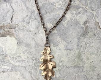 Oak Leaf & Acorn in Jasper - long chain and removeable pendant