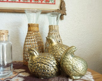 Vintage Brass Partridge Quail Bird Figurine - Set of 2