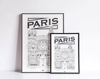 Paris / A4 / Docteur Paper / Travel With Me / Illustration / Voyage / Affiche / Ville / Décoration murale / Noir et Blanc / Map / Design