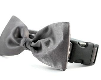 Gray Bow Tie Dog Collar - Dog Bow Tie Collar - Wedding Attire for Dogs - dog wedding - Charcoal satin dog bow tie - dark gray bow tie
