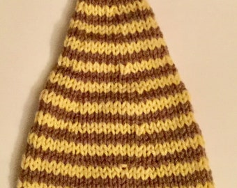 Baby Elf Hat, cocoa brown and gold