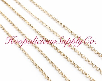 2mm Rolo Chain.Sold by the Yard. Warm Gold or Silver. You choose finish. FAST Shipping w/Tracking for US Buyers.