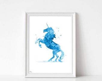 Unicorn art print, poster, Unicorn, watercolor Unicorn, animal art print, birthday gift, art print