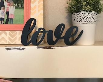 Mini Love Wood Word Cutout, Laser Cut Word, Love Sign Wall Decor, Scroll Cut Word, Cursive Script Wooden Word