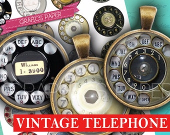 "Vintage Telephone Retro Rotary telephone - digital collage sheet - td266 - 1.5"", 1.25"", 30mm, 1 inch Sheet Jewelry Supplies Pendant, Buttons"