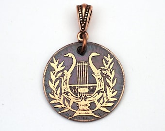 Copper harp pendant, Greek lyre, small round flat etched musical instrument jewelry, optional necklace, 25mm