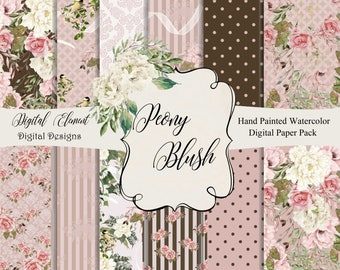 Seamless Digital Paper, Peony Digital Paper, Peony Seamless Paper, Pink and White Hand Drawn Florals. No. P214