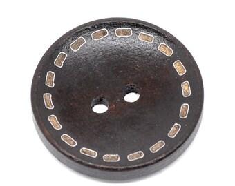 6 Dark Brown Wooden Buttons - Stitch Design - 25mm - 1 inch -  2 hole - Wood Button